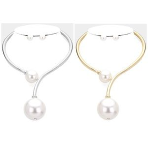 Gold or Silver Pearl Choker